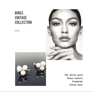 BIRKS 14K Gold Akoya Pearls Diamond Earrings